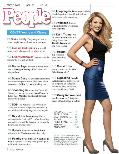 mock table of contents of People Magazine